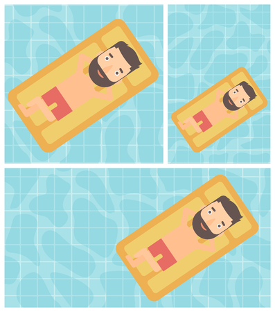 Hipster man with the beard relaxing on the air bed in the swimming pool. Young man enjoying his vacation. Vector flat design illustration. Square, horizontal, vertical layouts.