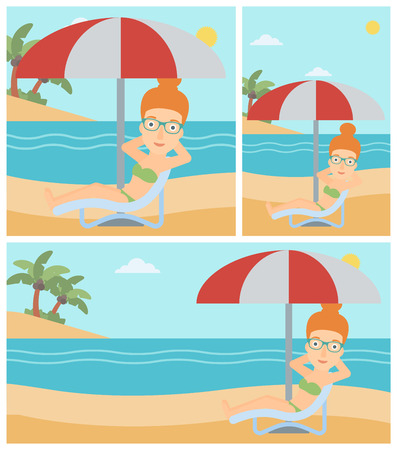 Woman sitting in a chaise longue on the beach. Woman sitting under umbrella on the beach. Woman relaxing on beach chair. Vector flat design illustration. Square, horizontal, vertical layouts.