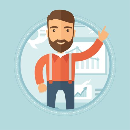 Cheerful businessman with the beard pointing his forefinger up during business presentation.