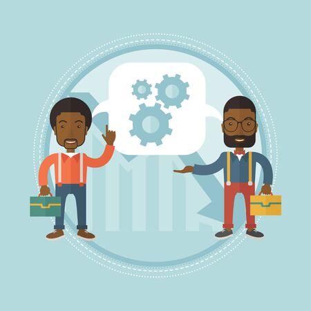 Twee zakenlieden delen ideeën en wisselen ideeën uit over hoe ze kunnen ontsnappen aan bedrijfscrises.