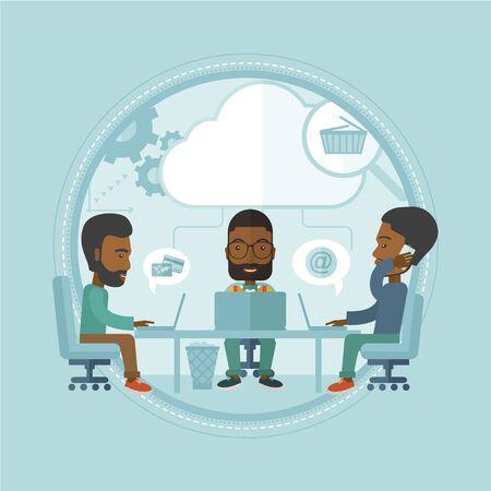 Mensen uit het bedrijfsleven brainstormen en communiceren, tonen een goed teamwork.
