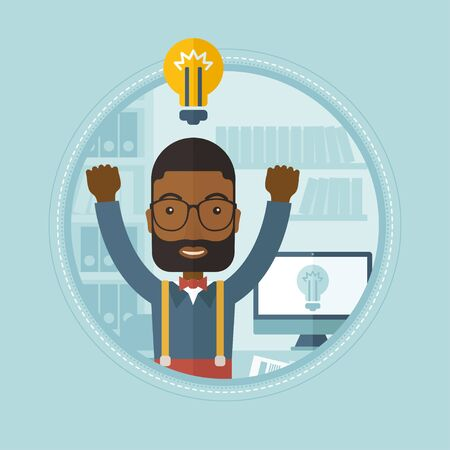 Businessman has a light bulb on top of his head, indicating that he has a new business idea.
