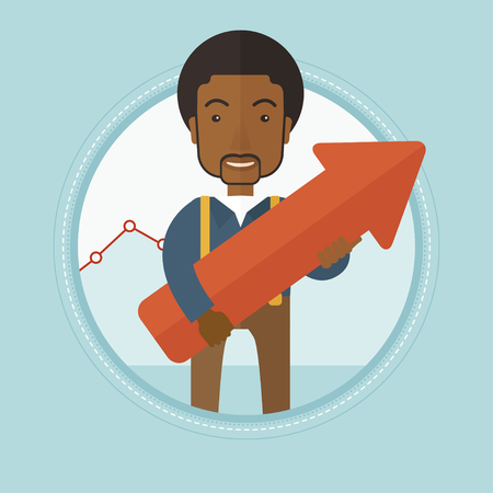representing: An african-american businessman holding a big red arrow pointing up and representing business growth. Business growth concept. Vector flat design illustration in the circle isolated on background.