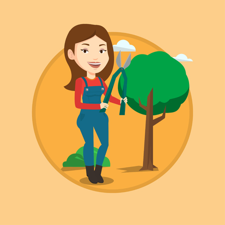 Gardener holding pruner. Gardener is going to trim branches of a tree with pruner. Gardener working in the garden with pruner. Vector flat design illustration in the circle isolated on background.