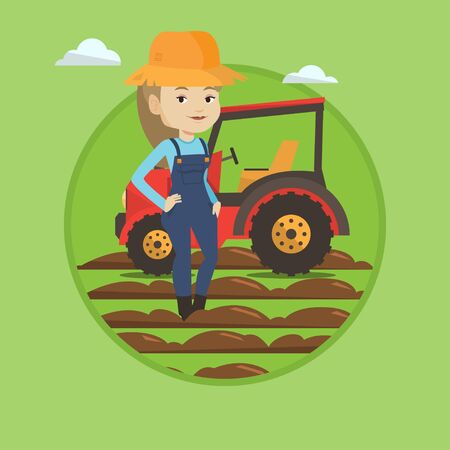 Caucasain farmer in summer hat standing on the background of tractor preparing land. Young farmer standing in front of tractor. Vector flat design illustration in the circle isolated on background.