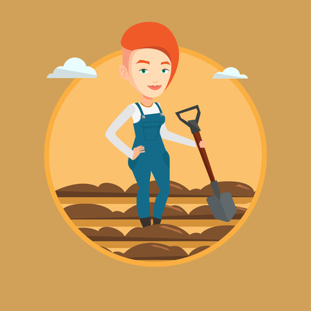 Farmer standing with shovel on the background of field. Woman working in field with a shovel. Woman plowing field with a shovel. Vector flat design illustration in the circle isolated on background.