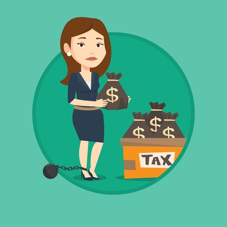 Chained to a ball taxpayer standing near bags with taxes. Taxpayer holding bag with dollar sign. Concept of tax time and taxpayer. Vector flat design illustration in the circle isolated on background. Illustration