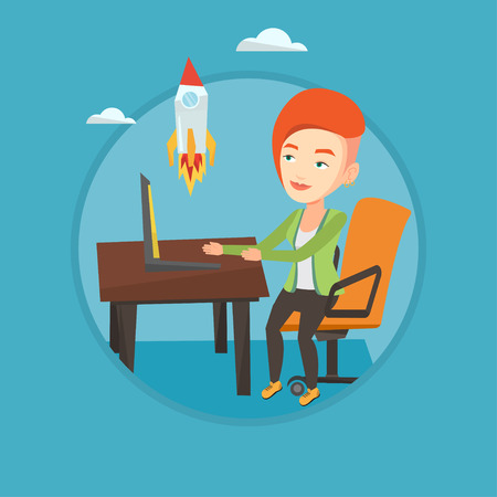 woman laptop: Caucasian businesswoman looking at business start up rocket. Businesswoman working on business start up. Business start up concept. Vector flat design illustration in the circle isolated on background Illustration