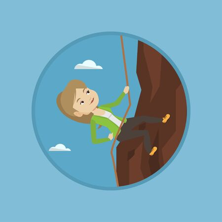 Caucasian business woman climbing on the rock. Business woman climbing on the mountain using rope. Concept of business challenge. Vector flat design illustration in the circle isolated on background. Illustration
