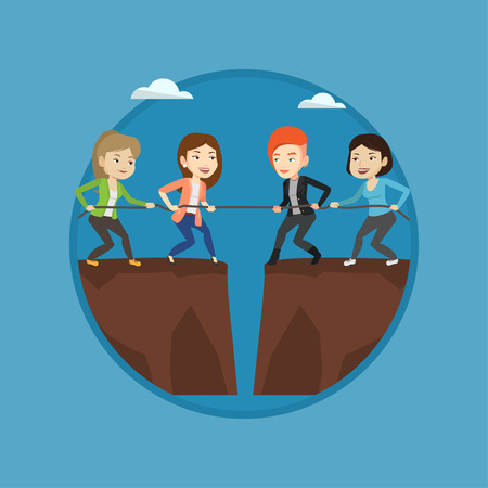 Two business team pulling rope on cliff. Competition between two teams of business people. Concept of competition in business. Vector flat design illustration in the circle isolated on background. 向量圖像