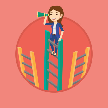 Business woman searching for opportunities. Woman using spyglass for searching of opportunities. Business opportunities concept. Vector flat design illustration in the circle isolated on background.