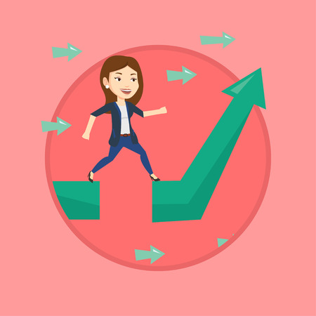 Businesswoman facing with business obstacle. Businesswoman coping with business obstacle successfully. Business obstacle concept. Vector flat design illustration in the circle isolated on background.
