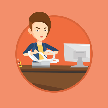 tax accountant: Annoyed caucasian business woman sitting in office and tearing furiously bills. Young angry business woman calculating bills. Vector flat design illustration in the circle isolated on background.