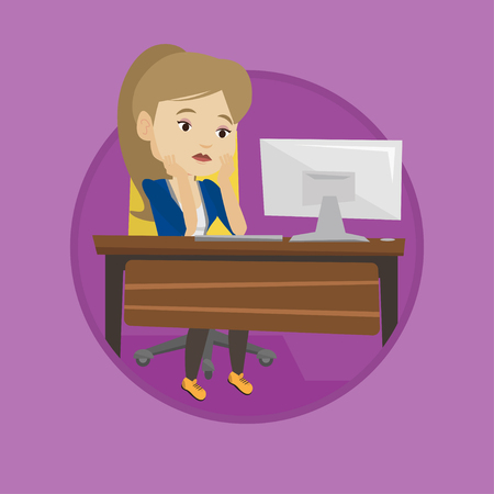 Exhausted employee sitting at workplace in front of computer. Overworked tired employee working with her head propped on hand. Vector flat design illustration in the circle isolated on background.