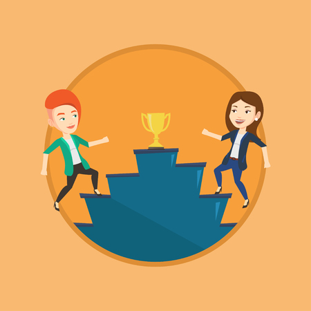 Business women competing to get trophy. Two competitive businesswomen running up for the winner cup. Business competition concept. Vector flat design illustration in the circle isolated on background. Illustration
