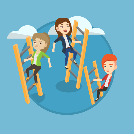 Business people climbing the ladders. Women climbing on cloud. Business women climbing to success. Business competition concept. Vector flat design illustration in the circle isolated on background