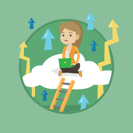 woman laptop: Business woman sitting on a cloud and working on laptop. Business woman using cloud computing technology. Cloud computing concept. Vector flat design illustration in the circle isolated on background.
