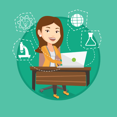 Caucasian female smiling student working on a laptop connected with icons of school sciences. Concept of educational technology. Vector flat design illustration in the circle isolated on background.
