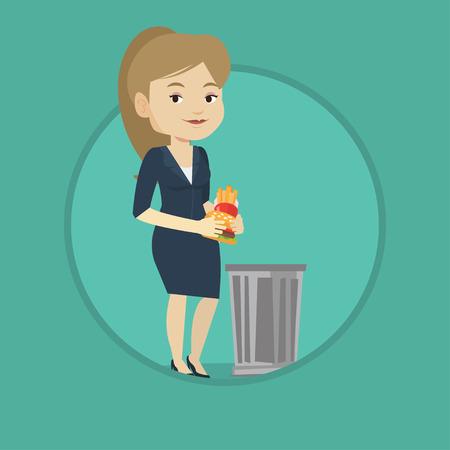Caucasian woman putting junk food into a trash bin. Woman refusing to eat junk food. Woman rejecting junk food. Diet concept.
