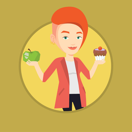 Woman holding apple and cupcake. Woman choosing between apple and cupcake. Concept of choice between healthy and unhealthy nutrition. Иллюстрация