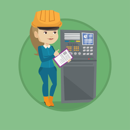 Engineer working on control panel. Engineer pressing button at control panel. Engineer standing in front of the control panel. Vector flat design illustration in the circle isolated on background.