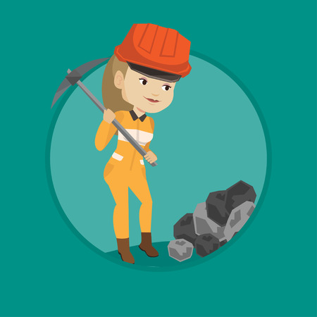 Caucasian female miner in hard hat working with a pickaxe. Female miner working at the coal mine. Young female miner at work. Vector flat design illustration in the circle isolated on background.