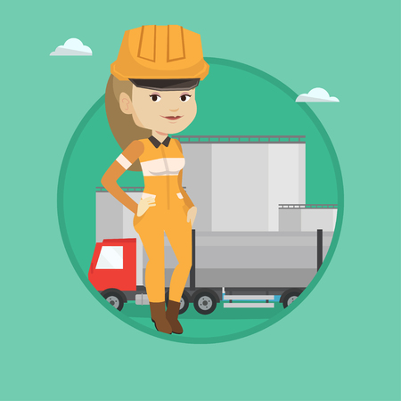 Refinery worker of oil and gas industry. Young caucasian worker standing on the background of fuel truck and oil refinery plant. Vector flat design illustration in the circle isolated on background. 向量圖像