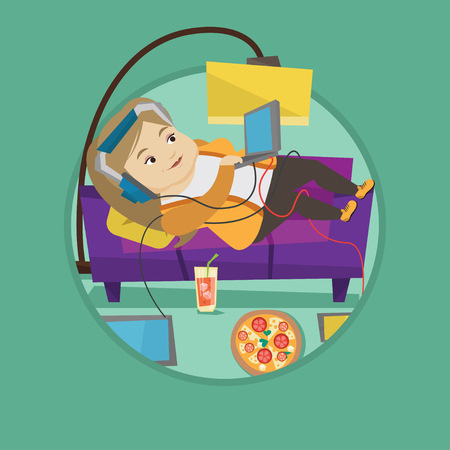 technologic: Fat woman relaxing on sofa with many gadgets. Woman lying on a sofa surrounded by gadgets and fast food. Plump woman using gadgets. Vector flat design illustration in the circle isolated on background