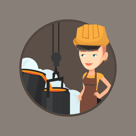 Steelworker at work in the foundry. Steelworker controlling iron smelting in the foundry. Industrial worker in steel making plant. Vector flat design illustration in the circle isolated on background.