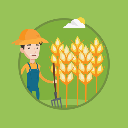 A Farmer in summer hat standing with a pitchfork on the background of wheat field. Farmer working with pitchfork in wheat field. Vector flat design illustration in the circle isolated on background.