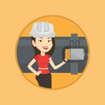 Young caucasian operator of oil refinery plant checking detector on pipeline. Technician standing on the background of pipeline. Vector flat design illustration in the circle isolated on background.