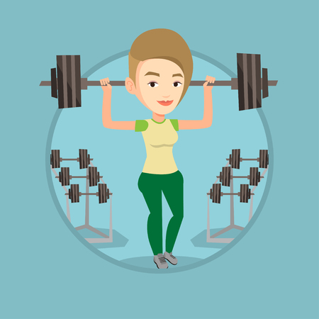 Woman lifting a heavy weight barbell. Strong sportswoman doing exercise with barbell. Weightlifter holding a barbell in the gym. Vector flat design illustration in the circle isolated on background.