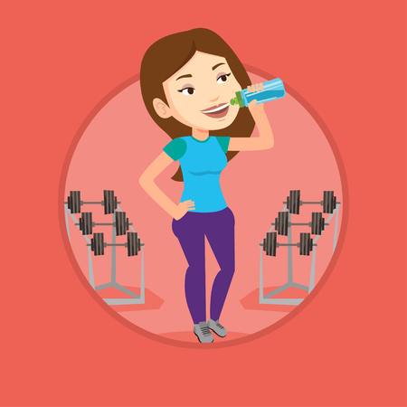 Caucasian sporty woman drinking water. Young woman standing with bottle of water in the gym. Smiling sportswoman drinking water. Vector flat design illustration in the circle isolated on background.