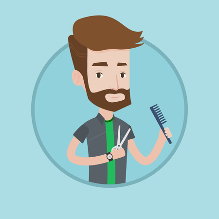 Full length of young hipster barber with beard holding comb and scissors in hands. Professional barber ready to do a haircut. Vector flat design illustration in the circle isolated on background. Illustration