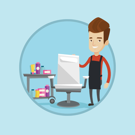Young caucasian barber standing near armchair and table with cosmetics in barbershop. Barber standing at workplace in barbershop. Vector flat design illustration in the circle isolated on background. Illustration