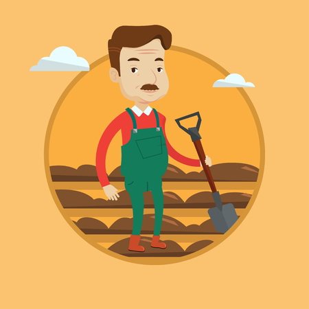 Farmer standing with shovel on the background of plowed field. Man working in field with a shovel. Man plowing field with a shovel. Vector flat design illustration in the circle isolated on background