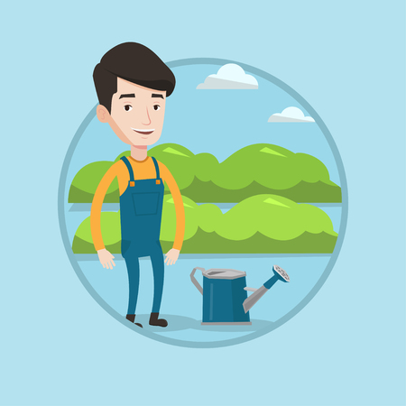 Farmer standing near a watering can on the background of agricultural field with green bushes. Farmer watering plants in garden. Vector flat design illustration in the circle isolated on background.