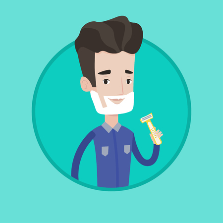Caucasain man shaving his face. Man with shaving cream on his face and razor in hand. Young man prepping face for daily shaving. Vector flat design illustration in the circle isolated on background.