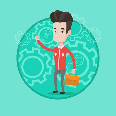 Businessman pointing finger up because he came up with business idea. Businessman having business idea. Business idea concept. Vector flat design illustration in the circle isolated on background. Illustration