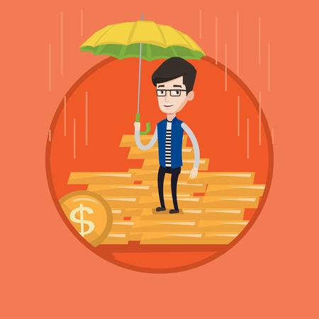 Caucasian agent holding umbrella over golden coins Illustration