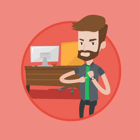 An angry hipster employer pointing at wrist watch. Employer checking time of coming of latecomer employee. Ilustracja