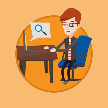 Caucasian businessman working on laptop in office and searching information on internet. Internet search and job search concept. Vector flat design illustration in the circle isolated on background. Stock Illustratie