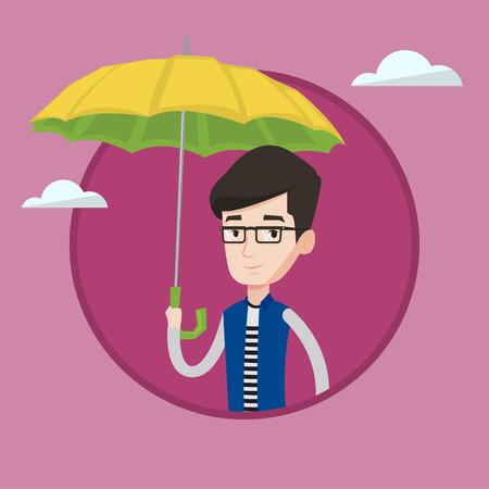 Caucasian agent standing safely under an umbrella Illustration