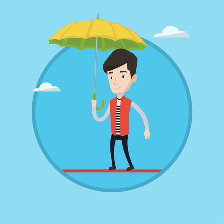 Businessman walking across a high rope with umbrella in hand. Risky businessman balancing on a tightrope. Business risk concept. Vector flat design illustration in the circle isolated on background. Illustration