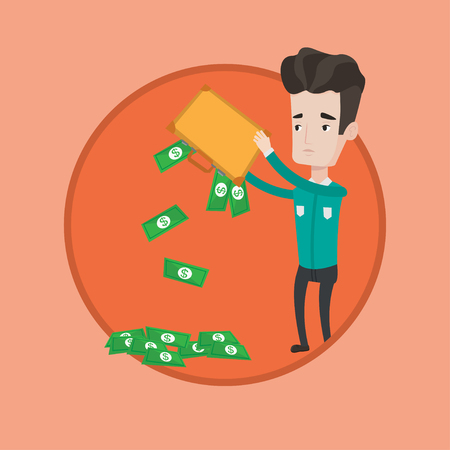 Depressed caucasian businessman shaking out money from his briefcase. Despaired businessman emptying a briefcase with his money. Vector flat design illustration in the circle isolated on background. Illustration