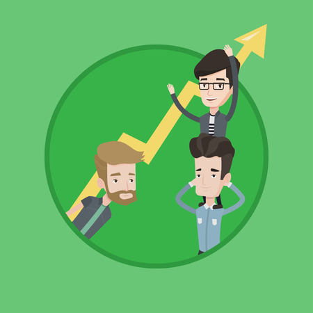 Caucasian businessmen holding zigzag growth graph. Business people with growth graph. Concept of partnership and growth graph.
