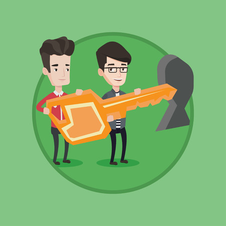 Businessmen standing in front of a keyhole with a big key. Business team holding the key to success. Two businessmen carrying key. Vector flat design illustration in the circle isolated on background.