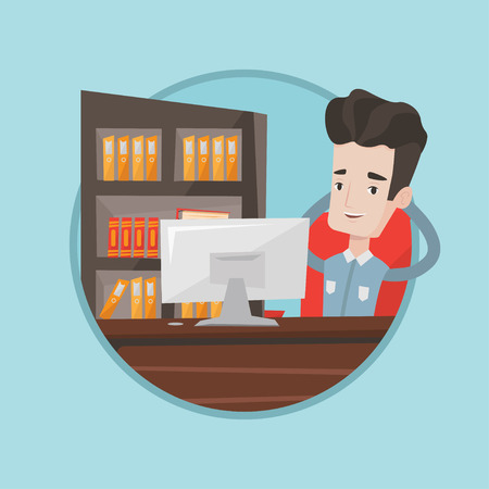 Relaxed businessman sitting at workplace in office. Young businessman relaxing in the office with his hands clasped behind head. Vector flat design illustration in the circle isolated on background.