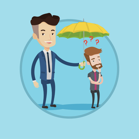 Insurance agent holding umbrella over young man. Hipster man standing under umbrella and question marks. Concept of insurance. Vector flat design illustration in the circle isolated on background.