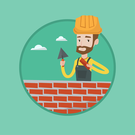 Young bricklayer in uniform and hard hat. Hipster bicklayer with beard working with spatula and brick on construction site. Vector flat design illustration in the circle isolated on background.